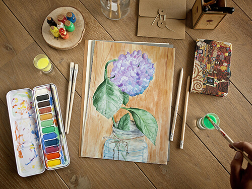 Still life with watercolors -2